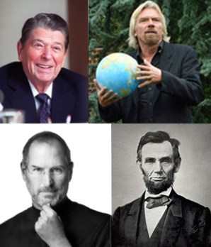 photo collage: examples of famous leaders - Richard Branson, Ronald Reagan, Steve Jobs and Abraham Lincoln